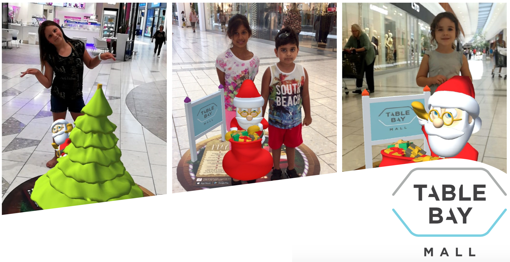 augmented reality ar santa claus table bay mall festive app digital marketing the blue room cape town south africa